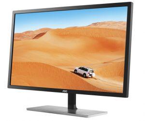 AOC Q3279VWF: Μια στιλάτη οθόνη υπολογιστή με εξαιρετικά λεπτό σχεδιασμό και μια κομψή βάση με ασημί τελείωμα, που ταιριάζει απόλυτα σε κάθε χώρο.