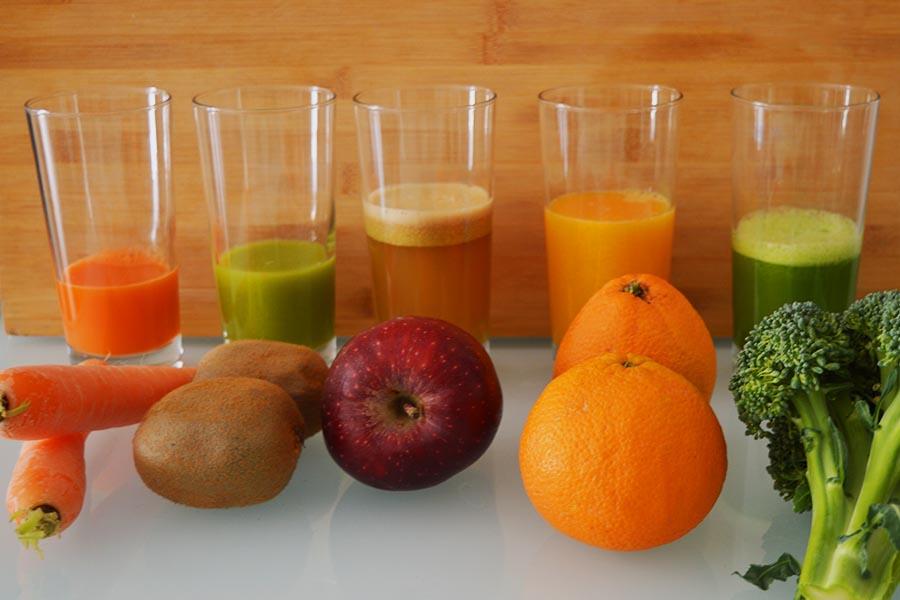 Ο χυμός ανά ποσότητα (σε ml) που πήραμε από κάποια φρούτα και λαχανικά με τον Rohnson R-459