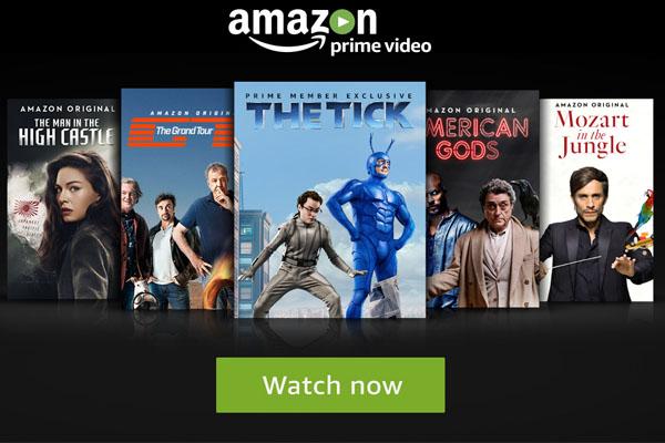 Amazon Prime Video: δημοφιλείς σειρές του AmazonOriginalSeriesόπως τοTheTick, τοTheGrandTour, τοTheManintheHighCastle, τοTransparent, τοMozartintheJungle, τοAmericanGodsκαι τοGoliathμαζί με άλλες δημοφιλείς Χολιγουντιανές κινηματογραφικές ταινίες και τηλεοπτικές εκπομπές